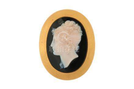 A 19th century onyx cameo brooch