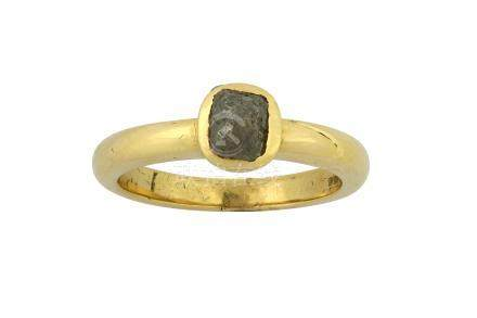 A gold and diamond single-stone ring