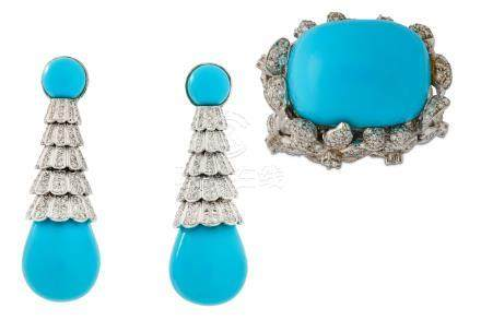 A turquoise and diamond dress ring and pendent earrings
