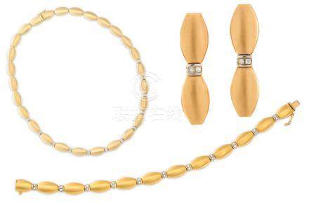 A diamond-set necklace, bracelet and earring suite