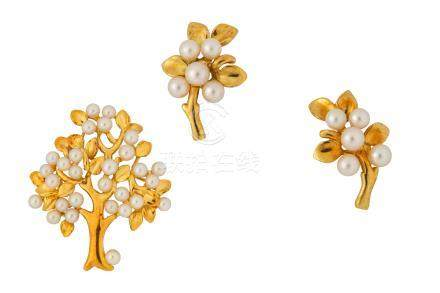A cultured pearl brooch and earrings, by Tiffany & Co.