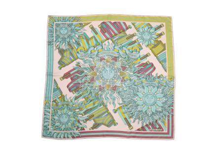 Hermes 'Les Sangles de Phoebus' Silk Scarf, designed by Joachim Metz, in shades of pastel pink, blue