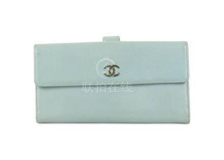 Chanel Pale Blue Caviar Wallet, c. 2010-11, silver tone CC logo, 19cm wide, 10cm high Condition