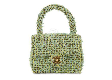 Chanel Green Micro Tweed Kelly Bag, c. 1991-94, top handle design with gold tone CC lock, 15cm wide,