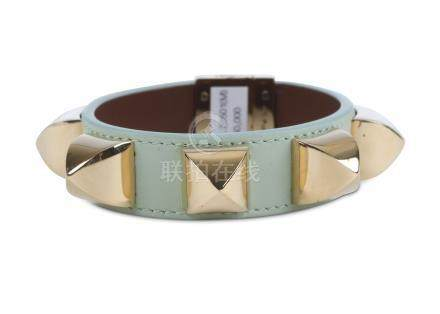 Givenchy Pale Green Studded Bangle, leather with gilt metal studs, labelled size M Includes pouch