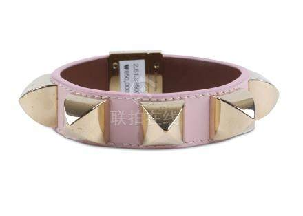 Givenchy Pink Studded Bangle, baby pink leather with gilt metal studs, labelled size M Includes