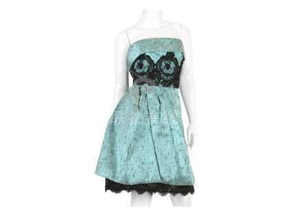 Christian Lacroix Pale Blue Dress, 2000s, black lace panel and stiff underskirt, labelled size 38,