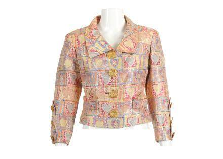 Christian Lacroix Heart Jacket, 2000s, in metallic shades of yellow, pink and blue with large