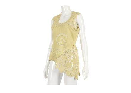 Chanel Yellow Crochet Top, 2010s, cotton body with crochet neckline and asymmetrical hem, labelled