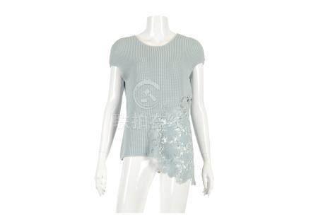 Chanel Baby Blue Crochet Top, 2010s, cotton body with crochet neckline and asymmetrical hem,