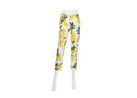 Dolce and Gabbana Lemon Trousers, lemon motif in shades of yellow and green on white ground,