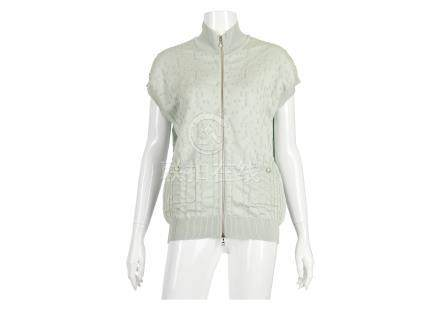 Chanel Pale Green Cardigan, c. 2017, textured fabric with zip down front, glass 'pearl' zip pull,