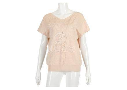 """Chanel Pale Pink Textured Jumper, 2010s, short sleeves with low back, labelled size 44, 18""""/46cm,"""