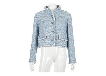 Chanel Sky Blue Jacket, 2010s, raw edge woven mix fabric with white trim and hammered silver metal