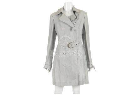 """Stella McCartney Ice Blue Trench Coat, early 2000s, belted waist, labelled size 44, 18""""/46cm"""