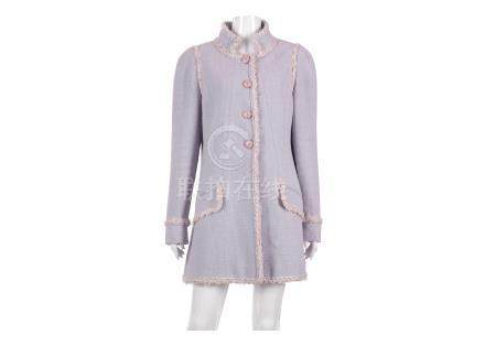 Chanel Lilac Boucle Long Jacket, 2010s, with white and lilac tulle trim and enamelled flower head