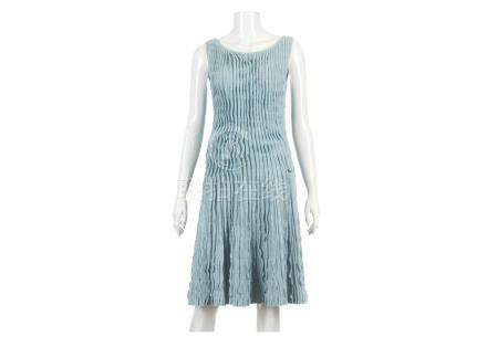 """Chanel Blue Knitted Dress, sleeveless design in cashmere linen mix, 14""""/36cm chest, 90cm long"""