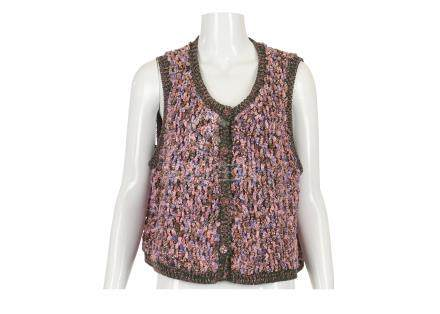 Chanel Pink and Green Chunky Knitted Waistcoat Top, 2010s, with pink patchwork crystal buttons,