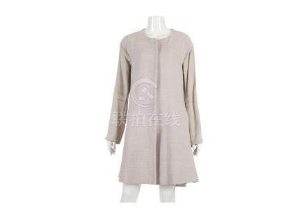 """Giorgio Armani Lilac Coat, round neck with silk sleeves, zip down front, labelled size 46, 20""""/"""