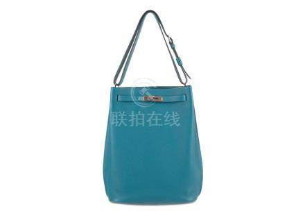 Hermes Blu Saphir So Kelly 26, c. 2015, Togo leather with Palladium plated hardware and adjustable