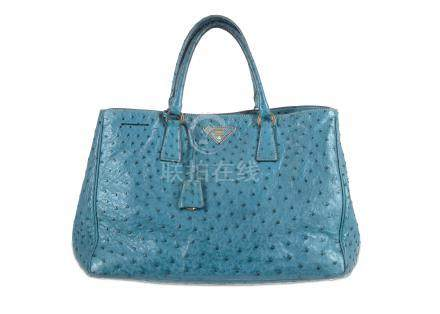 Prada Sky Blue Ostrich Galleria Tote, gilt hardware with nude leather lining, 37cm wide, 26cm