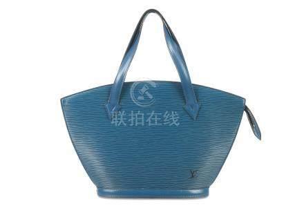 Louis Vuitton Blue Saint Jacques PM, c. 1993, Epi leather with short handles, 38cm wide, 24cm