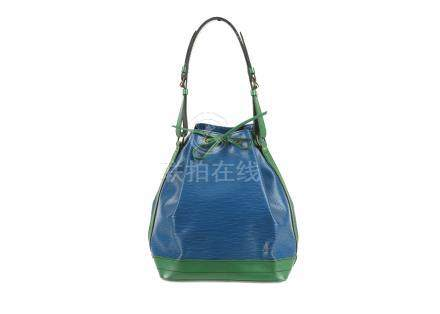 Louis Vuitton Bicolour Epi Noe GM, c. 1990, blue Epi leather with smooth green leather trim and gold