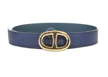 Hermes Saphir and Marine Reversible Chaine d'Ancre Belt, c. 2014, Saphir Epsom leather to one side