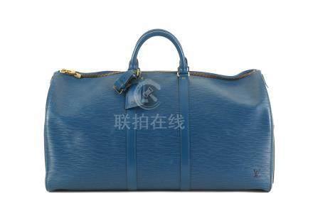 Louis Vuitton Blue Epi Keepall 55, c. 1995, gold tone hardware, 55cm wide, 30cm high Includes