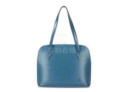 Louis Vuitton Blue Lussac GM, c. 1997, Epi leather with gold tone hardware, 38cm wide, 30cm high,