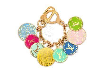 Louis Vuitton 'Trunks & Bags' Key Ring Charm, gilt hardware with multicoloured enamel disks, 21cm
