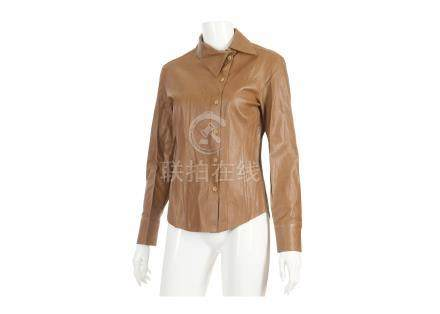 """Tom Ford for Gucci Brown Leather Shirt, 2000s, fitted and button down, labelled size 40, 15""""/38cm"""