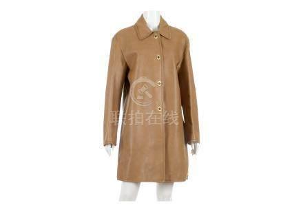 "Miu Miu Brown Leather Coat, four gold tone turn lock clasps, labelled size 42, 21""/54cm, 95cm long"