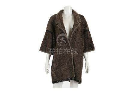 Hockley Brown Persian Lamb Coat, black beaded satin detail to cuffs and hem, cashmere lining,