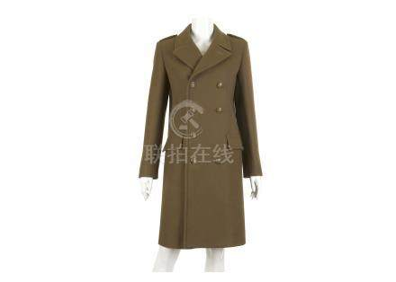 Yves Saint Laurent Moss Green Coat, double breasted military style with brass tone buttons, fully