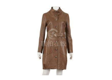 """Celine Brown Leather Coat, belted style with buttons and pockets, labelled size 38, 17""""/43cm"""