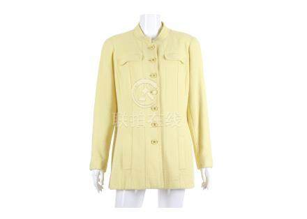 """Chanel Pale Yellow Boucle Jacket, Spring 1997, yellow and gilt CC buttons, labelled size 46, 21""""/"""