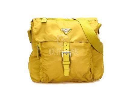Prada Lime Green Nylon Cross Body Satchel, adjustable straps and silver tone hardware, 24cm wide,