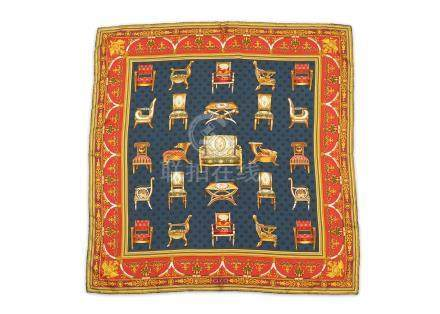 Gucci 'Baroque Chairs' Silk Scarf, ornate chair motif on navy ground with red border, 87cm x 87cm