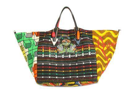 Christian Louboutin Africaba Tote, c. 2016, colourful patterned contrasting fabric with beaded CL