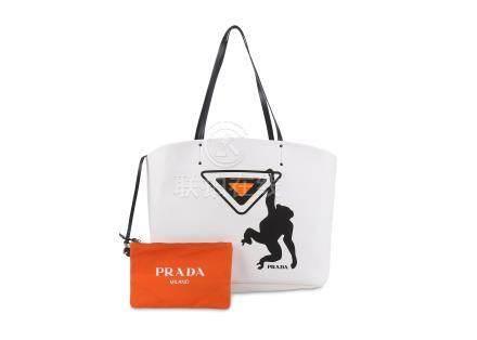 Prada Canapa Monkey Shopping Tote, c. 2018, white canvas with black and orange monkey design, orange
