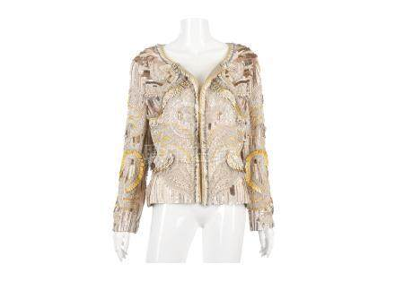 Matthew Williamson Taupe Embroidered Silk Jacket, 2000s, heavily embroidered with cream and