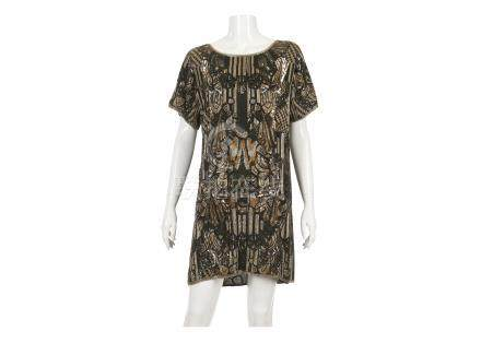 Matthew Williamson One-Off Black and Gold Dress, c. 2007, heavily embroidered in gold, silver and