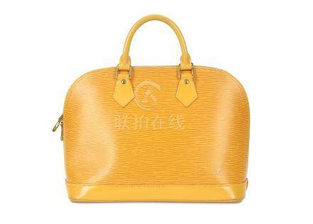Louis Vuitton Yellow Epi Alma PM, c. 1997, Epi leather with gold tone hardware and contrasting