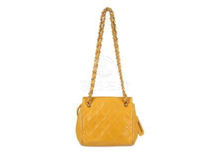 Chanel Yellow Micro Shoulder Bag, c. 1994-96, quilted lambskin leather and gold tone hardware,