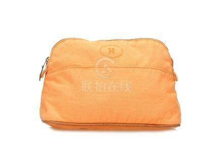 Hermes Orange Cosmetic Bag, cotton canvas with leather trims, 25cm wide, 15cm high Condition Grade B