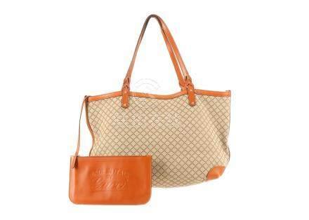 Gucci Orange Craft Tote, diamond pattern canvas body with orange leather trim and handles, 47cm