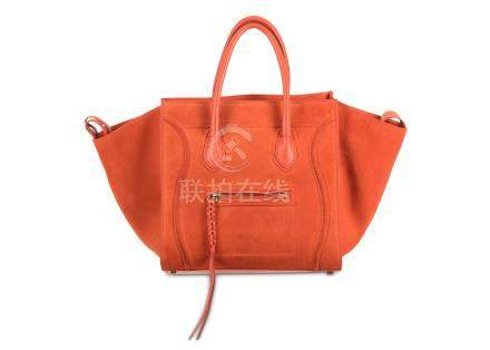 Celine Orange Suede Phantom Luggage, calf leather lining and handles with zip detail to front,