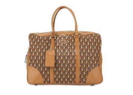 Prada Printed Holdall Bag, retro printed bag with tan leather trims, integrated handles and zip