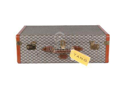 Goyard Goyardine Suitcase 70, 1970s, hard sided covered in patterned fabric with brown leather